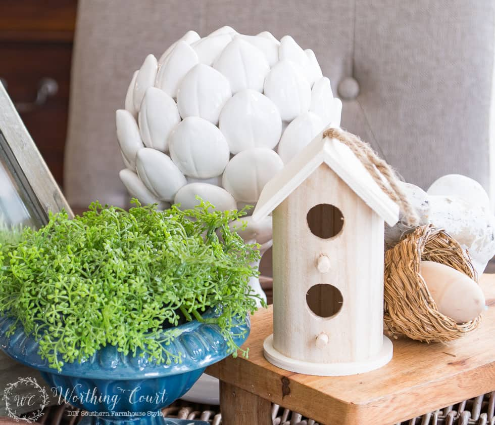 Farmhouse kitchen table spring centerpiece