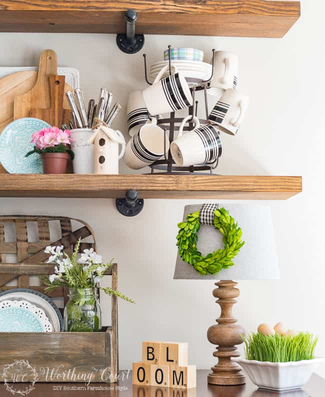 Rustic farmhouse open shelves decorated for spring
