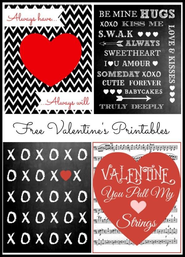 Four Free Valentineu0027s Day Printables