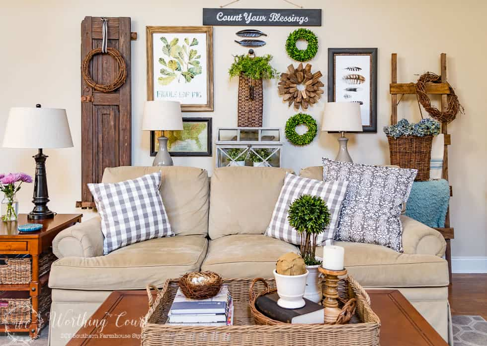 Spring gallery wall, brighter sofa pillows and a spring coffee table vingette