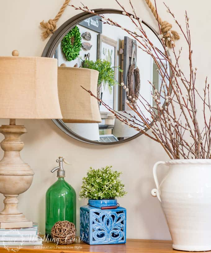 Spring console table vignette