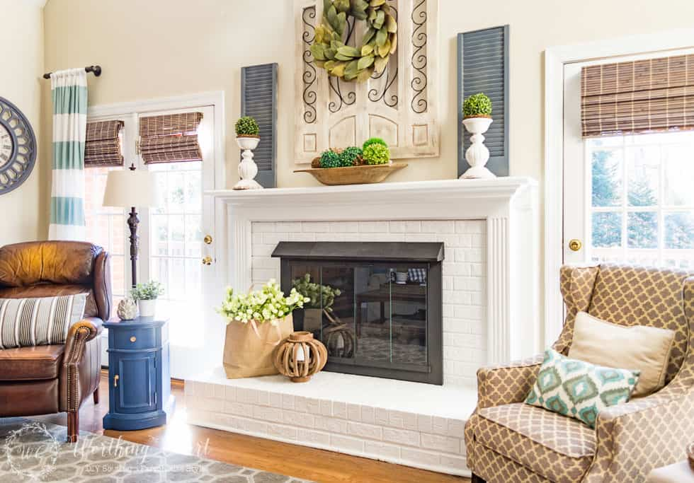 Spring fireplace mantel and hearth
