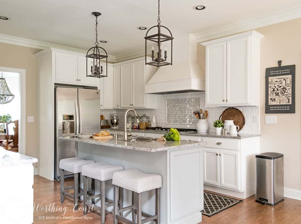 Farmhouse style kitchen with spring touches