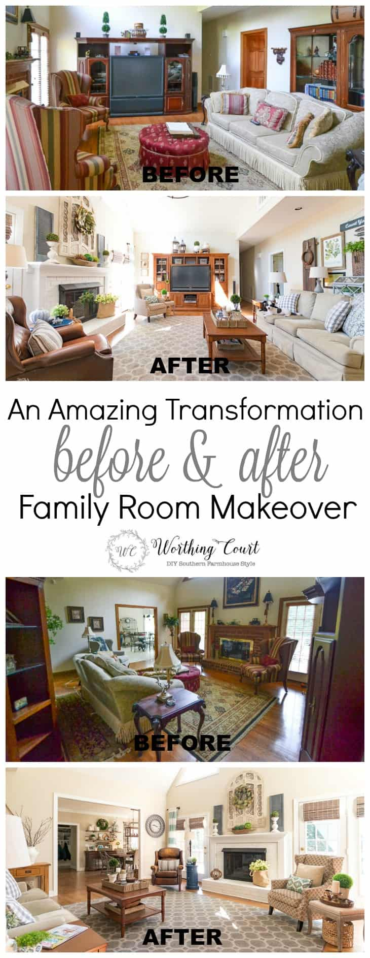 Amazing before and after family room makeover taken from dark and dated to bright and