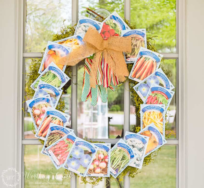 DIY wreath made with seed packets