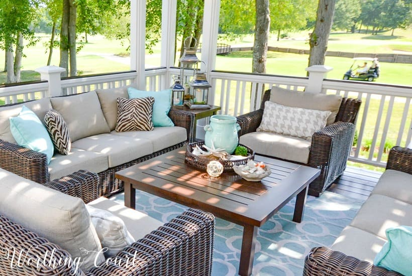 deck with neutral outdoor furniture