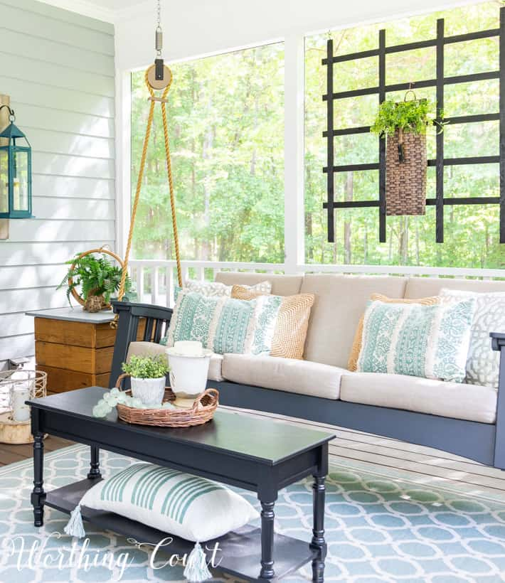 porch swing and aqua accessories
