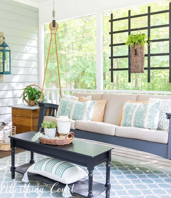 porch swing and aqua accessories