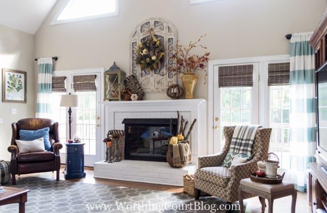 The before and after of this family room is amazing. It was taken from dark and dated to light and bright filled with rustic farmhouse touches.