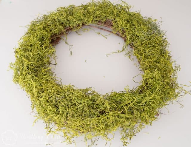 Step 1 - Attach the Spanish moss to the wreath with hot glue, by randomly placing gobs of glue on the wreath and pressing the moss into it. Be careful not to press your fingers into the hot glue.