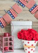 An easy and fun patriotic craft! How to make a super quick and easy banner garland for Memorial Day, Flag Day or July 4th.