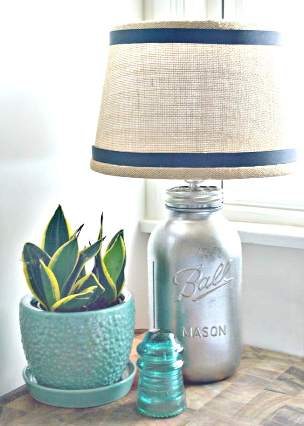 DIY mercury glass mason jar lamp wiith a diy burlap lampshade