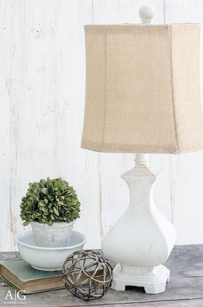 Rustic farmhouse diy lamp makeover using joint compound and paint.