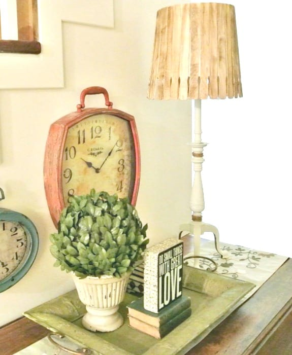 DIY vintage lamp makeover and new shade using paint stir sticks