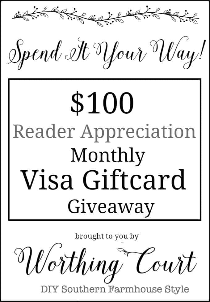 $100 Visa Giftcard Giveaway Brought To You By Worthing Court Blog. Just comment to enter!