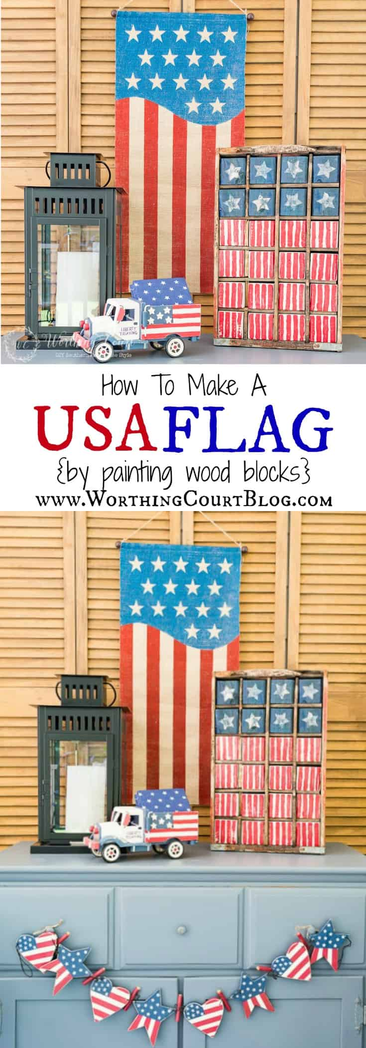 An easy and fun patriotic craft for Memorial Day, Flag Day and July 4th. How to create a vintage Americana look flag by painted wood blocks. Even kids would love to take apart and put the USA flag back together.