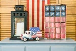 Easy Vintage Americana USA Flag Painted Wood Blocks