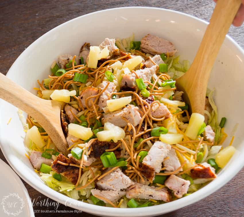 A new favorite - Grilled Pork Loin Asian Salad with BBQ Dressing. Easy and fast.