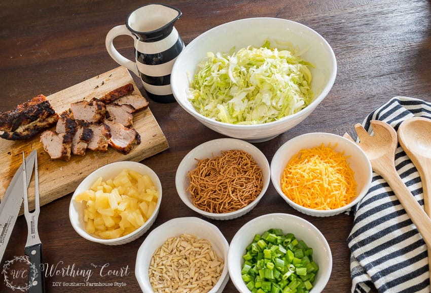 Recipe for Grilled Pork Loin Asian Salad With BBQ Dressing