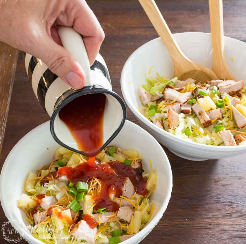 Fast and easy Asian salad with pre-marinated grilled pork tenderloin and sweet bbq dressing