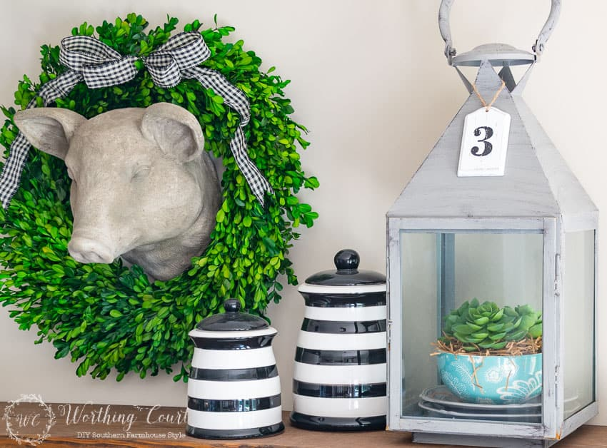 How To Decorate With Lanterns   Fill A Large Lantern With A Stack Of Dishes  And