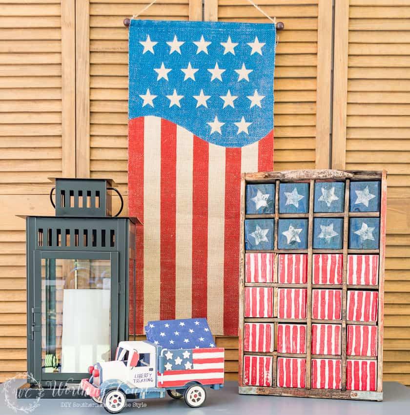 A vintage Americana USA flag display made with painted wood blocks
