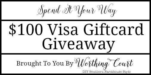$100 Visa Giftcard Giveaway at Worthing Court Blog