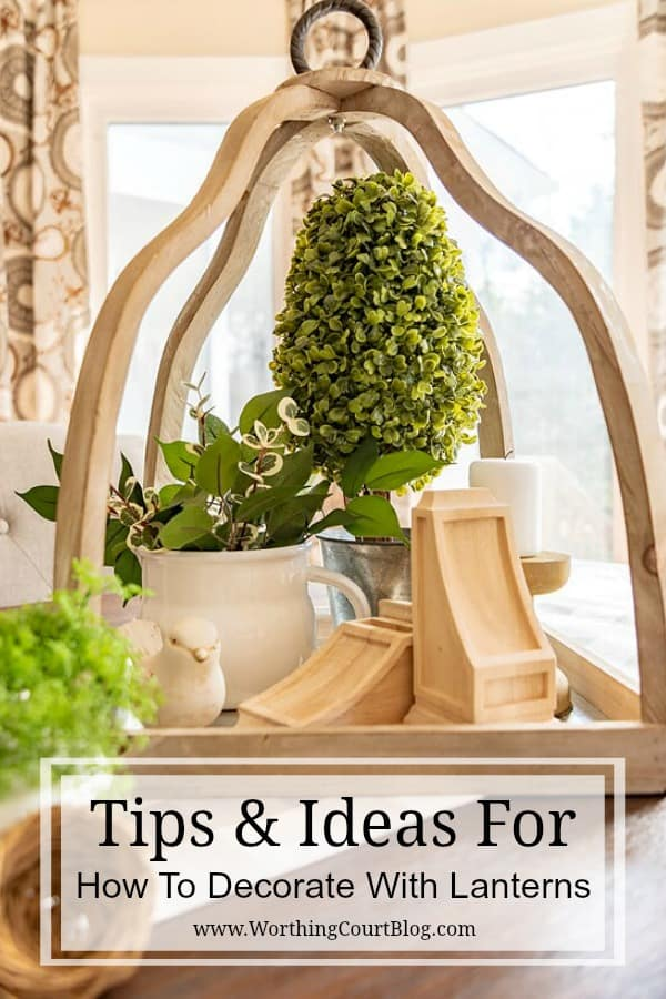 wood lantern fill with spring decor items