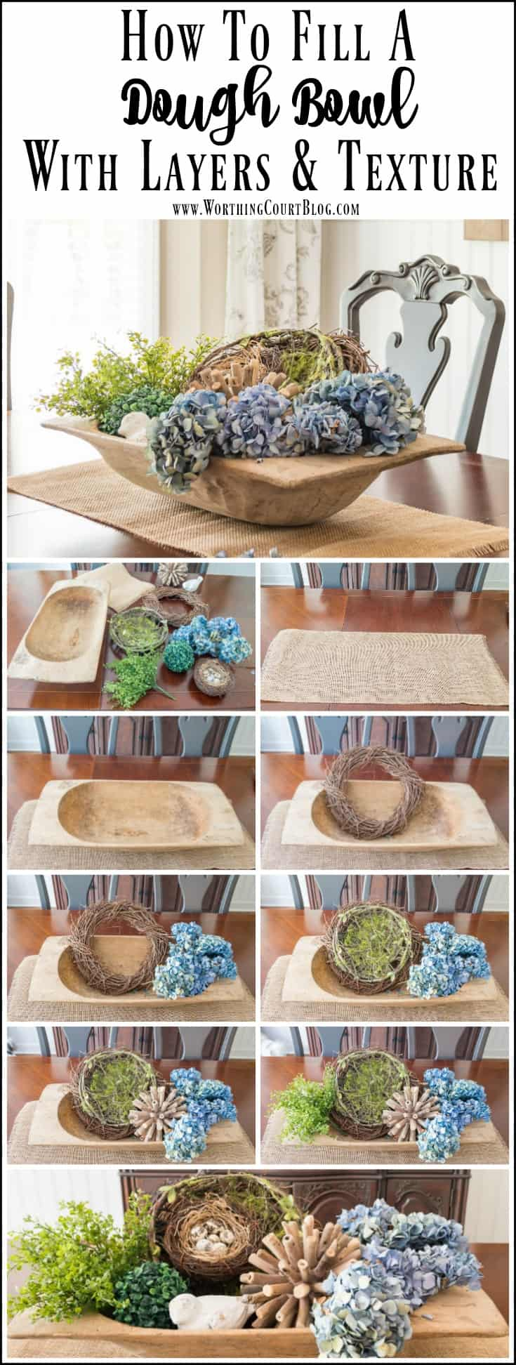Step by step photos of how to create a seasonal dough bowl display.