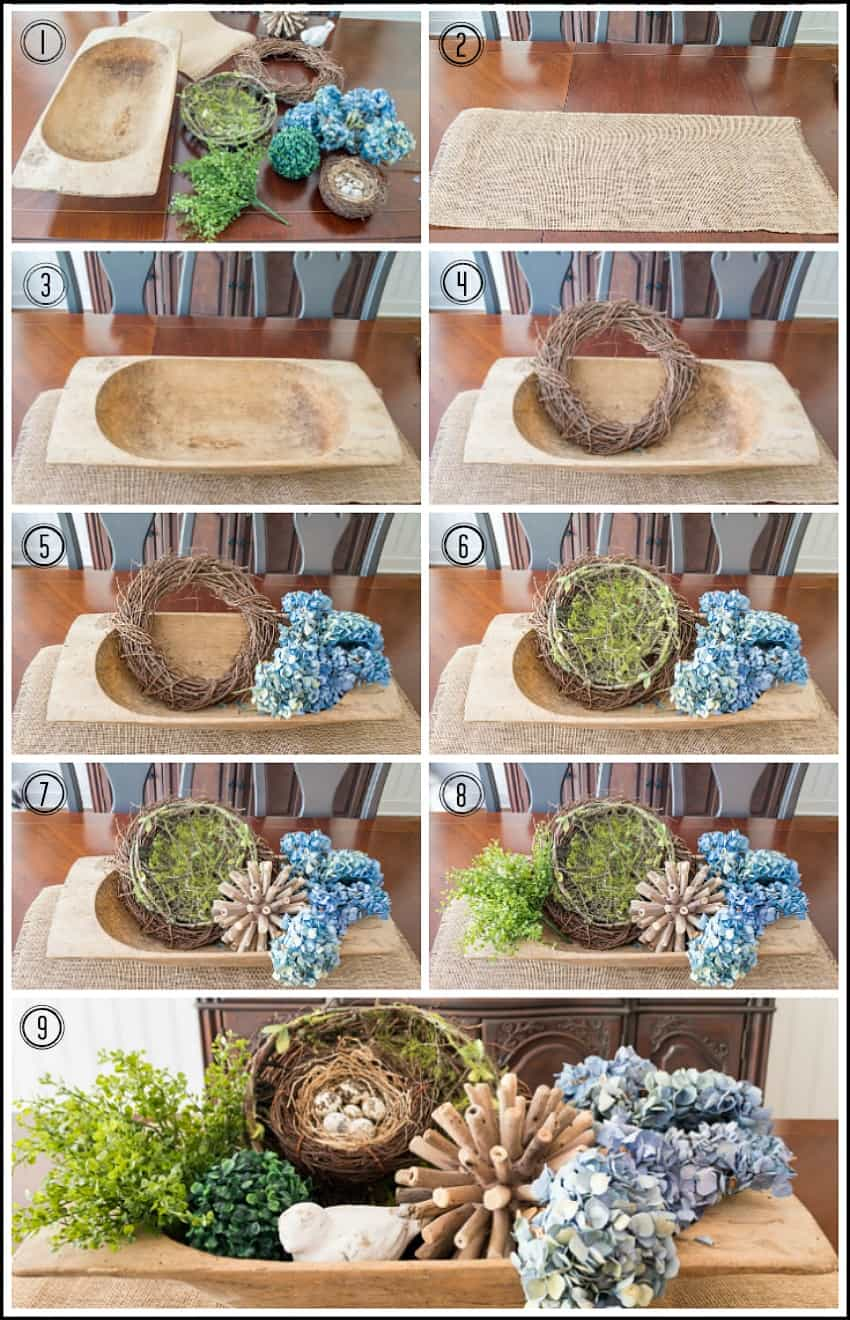 Step by step photos of how to create a dough bowl display.