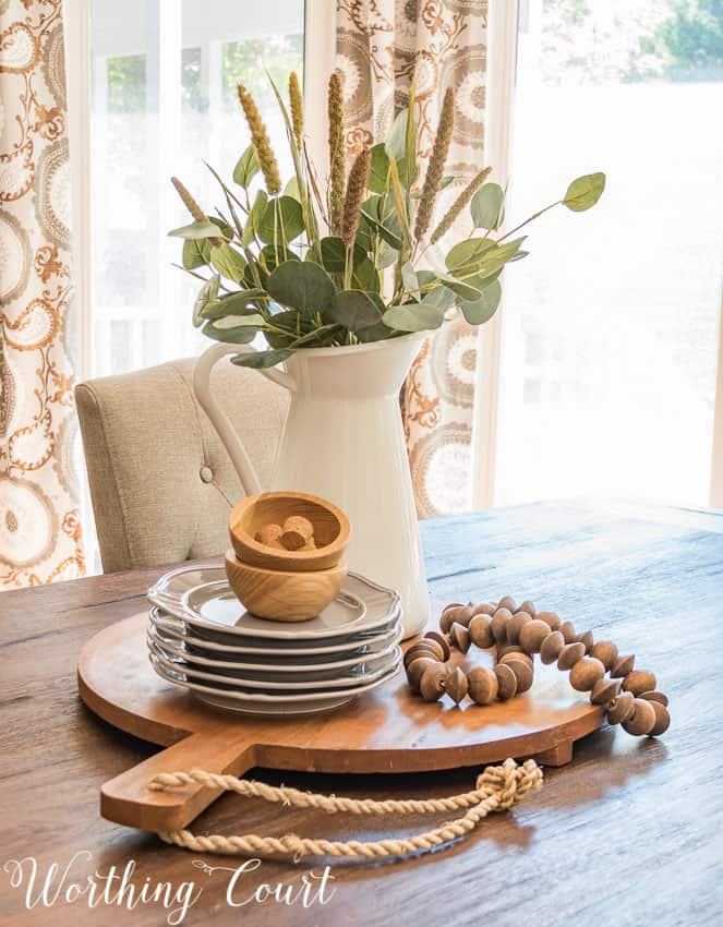 Simple and uncomplicated farmhouse kitchen table centerpiece