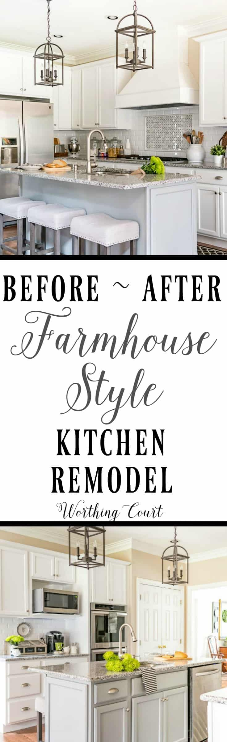 Before and After Farmhouse Style Kitchen Remodel || Worthing Court