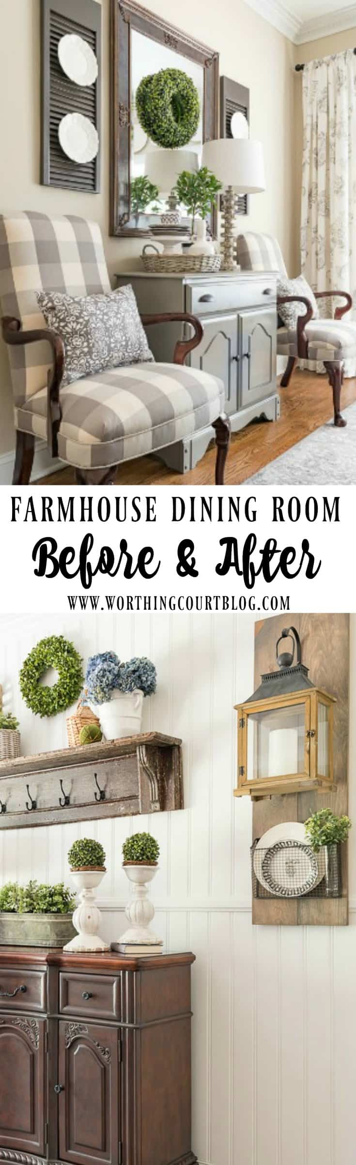 Farmhouse dining room makeover reveal before and after for Dining hall wall decoration