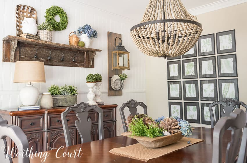 Farmhouse Dining Room Makeover - an inexpensive way to fill a large wall  with art