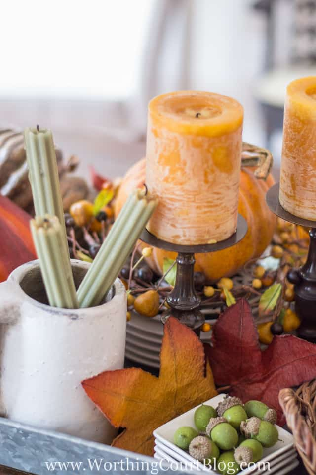 Consider using unexpected pieces when determining how to make your fall centerpiece. #fall #centerpiece #howto