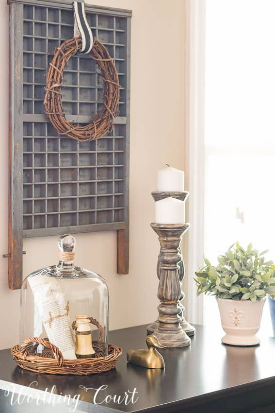 Farmhouse office vignette and printers tray for wall art