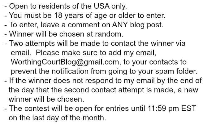 Giveaway Rules And Details - as of 8-1-16
