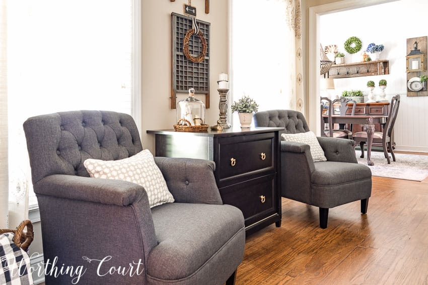 A pair of gray arm chairs will look great in a farmhouse home office