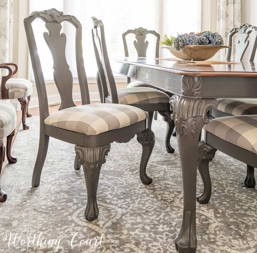 How To Redecorate A Dining Room - if you have a piece of furniture that is too large to carry outside a paint store can color match spray paint for you! || Worthing Court