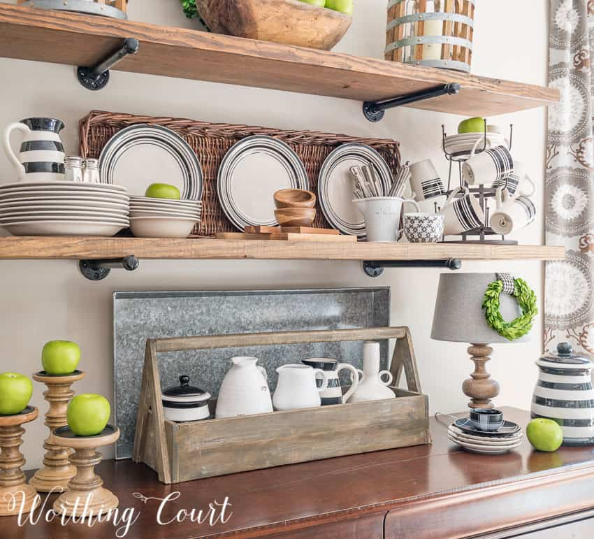 Open Shelving In The Kitchen: Late Summer Farmhouse Open Kitchen Shelves