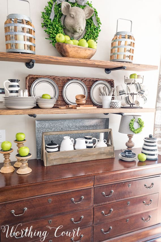 Early fall rustic farmhouse open shelves