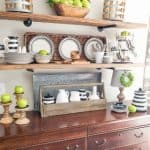Late Summer Open Farmhouse Kitchen Shelves