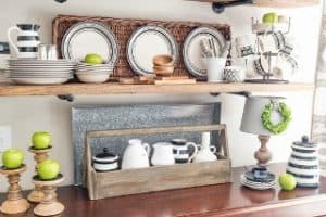 Late Summer Farmhouse Open Kitchen Shelves