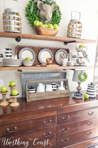 Late Summer Open Farmhouse Kitchen Shelves