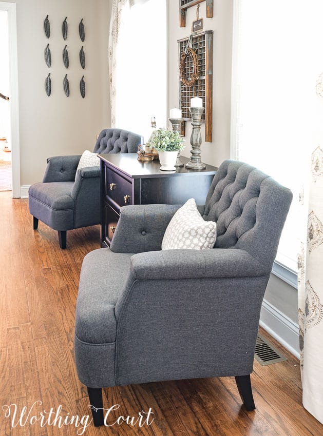Pair of gray club chairs for a farmhouse office