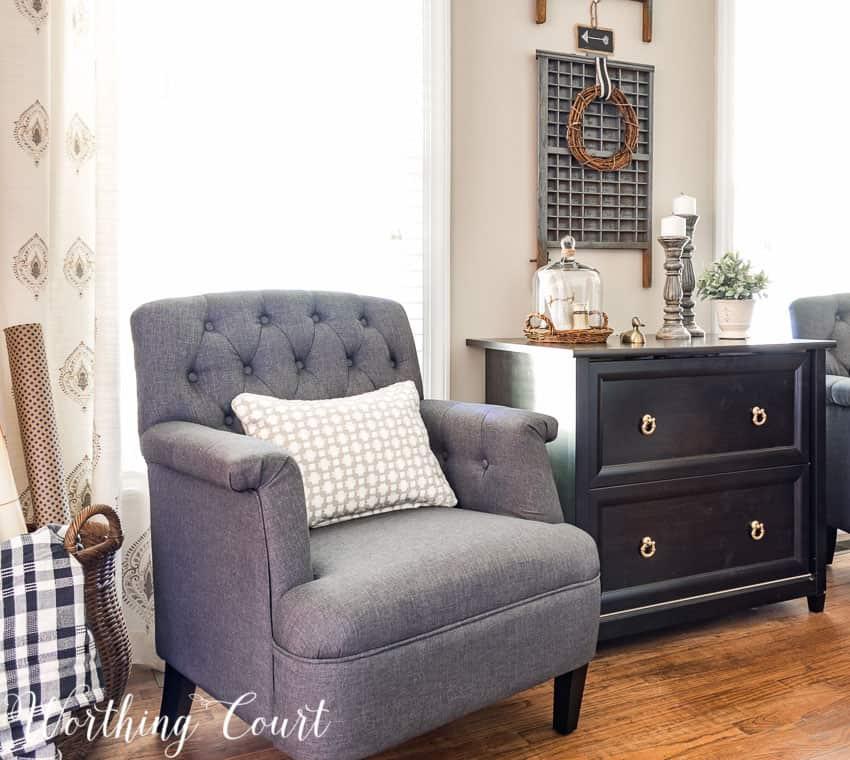 Tufted gray club chair