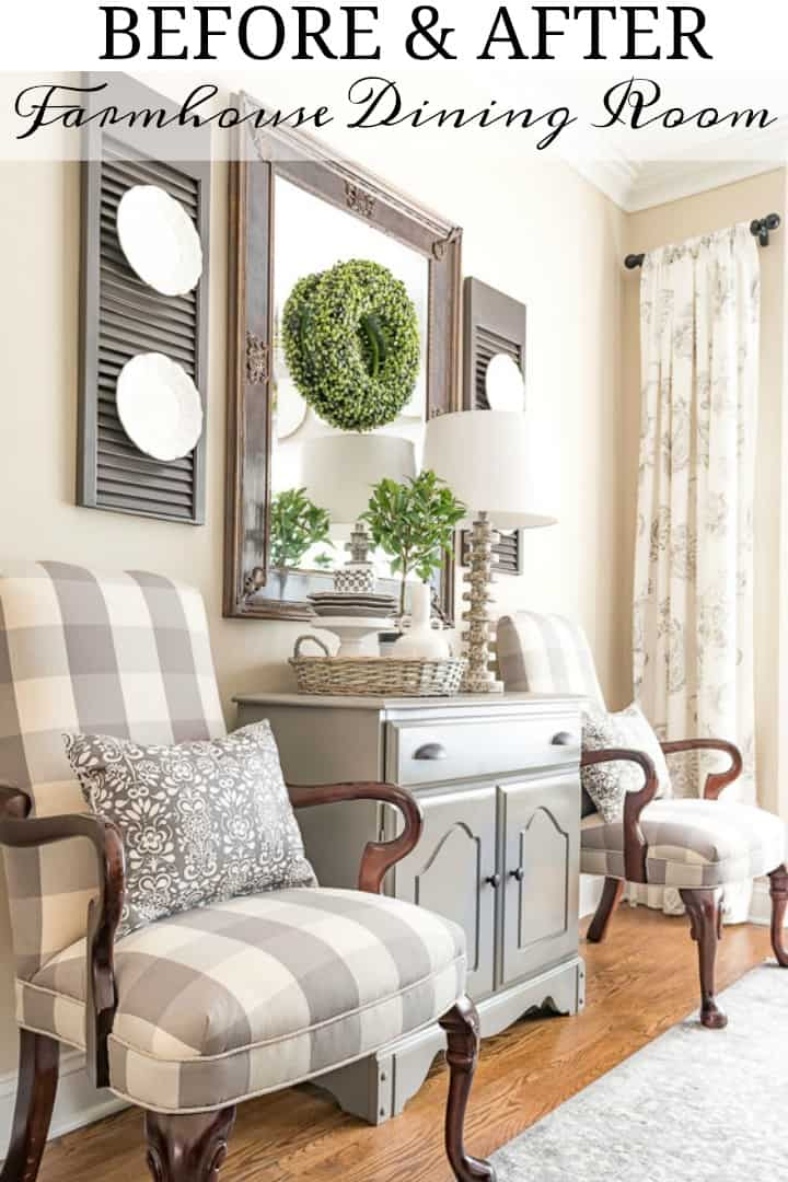 Gray and white farmhouse dining room makeover #farmhouse #diningroomdecor #makeover #diy #graydiningroom #grayandwhitediningroom #farmhousestyle