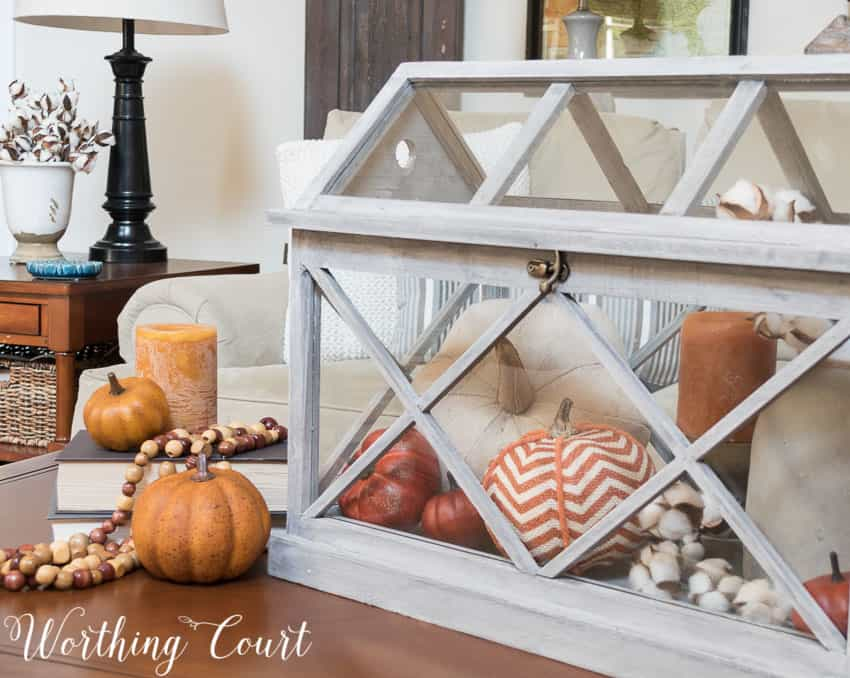 Fall terrarium on a coffee table || Worthing Court