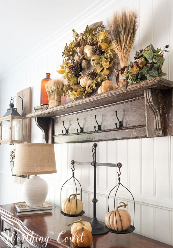 Fall in my farmhouse dining room worthing court for Dining room shelf decorating ideas