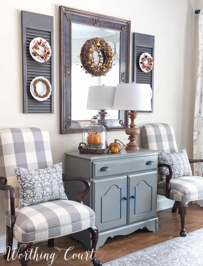 Fall dining room cabinet vignette || Worthing Court